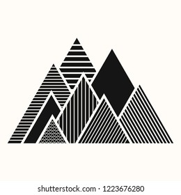 Sacred geometry. Crossed linear triangles. Secret symbol of geometry. Triangular symbol. Maya pyramid. Mountains of Inca. Stylized of a mountain ridge. Black ethnic totemic geometric tattoo.
