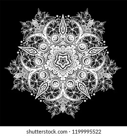 Sacred Geometry. Dark magic night sky Mandala round crescent moon and wild lily ornament. Esoteric symbol with lines, flowers and stars. Isolated vector Illustration.