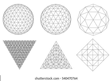 Sacred geometry. Dodecahedron. Snub dodecahedron. Icosahedron. Network line, HUD design sphere and triangle. Vector Illustration