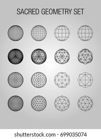Sacred geometry. Dodecahedron. Snub dodecahedron. Icosahedron. Network lines, Design different spheres. Vector Illustration