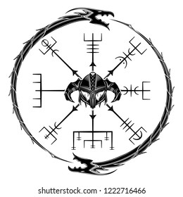 Sacred geometry. Galdrastafir. Egishjalmur. Horror helmet. Magic runic symbols that appeared in the early Middle Ages in Iceland. Is a few; or multiple; intertwined runes. Runic Talisman. Vector.