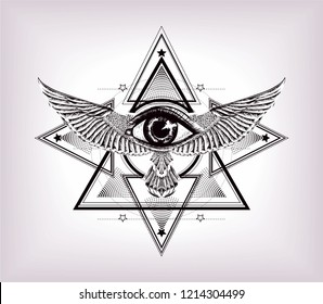 Sacred geometry with egypt symbol. Wings and all seeing eye.Vision of God Providence. Alchemy, religion, spirituality, occultism. Isolated vector illustration. Conspiracy theory. Drawing tattoo art.