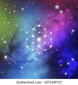 Sacred geometry flower of life vector illustration with golden ratio numbers, interlocking circles and particles in front of outer space background.
