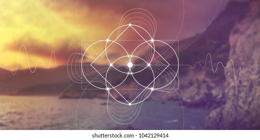 Sacred geometry flower of life website banner with golden ratio numbers, interlocking circles and triangles, flows of energy and particles in front of outer space background. The formula of nature.