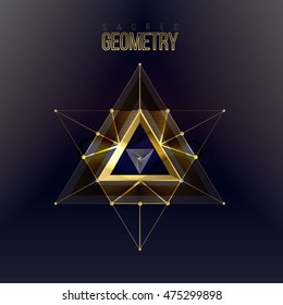 Sacred geometry forms on space background, shapes of lines, logo, sign and symbol. Geometric patterns. Geometry symbolic triangle. Vector isolate gold shapes on dark color.