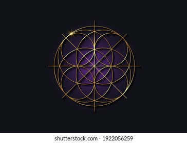 Sacred Geometry gold symbol, Seed of life sign. Geometric mystic luxury purple mandala of alchemy esoteric Flower of Life. Golden line art vector divine meditative amulet isolated on black background