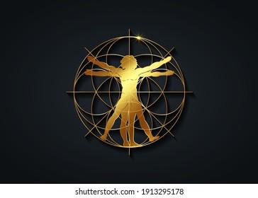 Sacred Geometry gold symbol. The Vitruvian man. Detailed drawing on the basis of golden artwork by Leonardo da Vinci, vector isolated on black background