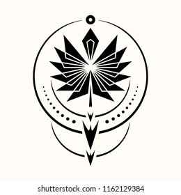 Sacred geometry. Graphic illustration of a totemic arrow of the shaman. Triangular symbol. Secret symbol of geometry. Alchemy; religion; philosophy; astrology and spirituality. Vector illustration.