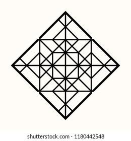 Sacred geometry. Graphic linear rhombus. Secret symbol of geometry. Triangular symbol. Labyrinth of illuminates. Alchemy; religion; philosophy; astrology and spirituality. Vector illustration.