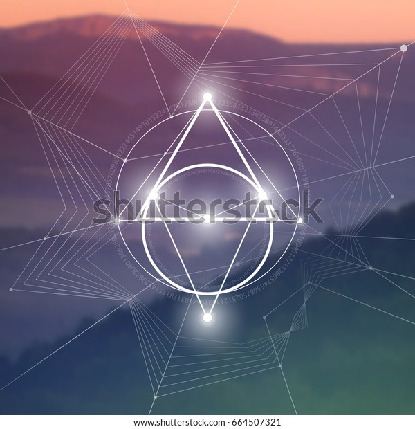 Sacred Geometry Illustration Golden Ratio Numbers Stock Vector