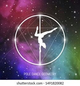 Sacred geometry inspired pole dance illustration with outer space, golden ratio digits and interlocking geometric shapes. Pole dancing science conceptual art. Pole dance geometry.