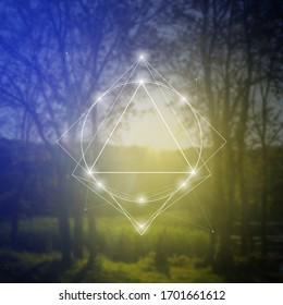 Sacred geometry inspired vector illustration with interlocking circles and triangles.