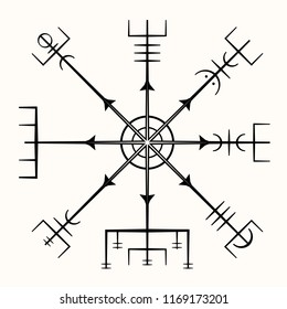 Sacred geometry. Galdrastafir. Magic runic symbols that appeared in the early Middle Ages in Iceland. Is a few, or multiple, intertwined runes. Vegvisir. Magic Navigation Vikings Compass. Talisman.