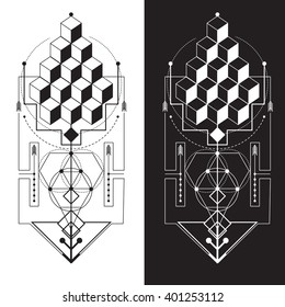 Sacred Geometry. Magic totem, sacred symbols, geometry, sacred, harmonic, geometric shapes, vector, background elements, icons, technical illustrations, vector decorations, vector designs