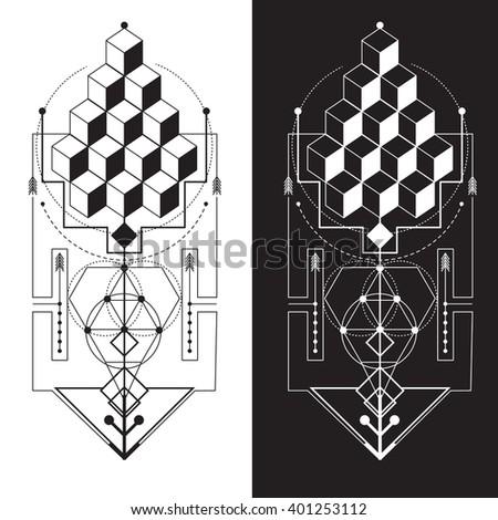 Sacred Geometry Magic Totem Sacred Symbols Stock Vector Royalty