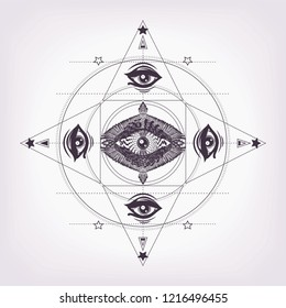 Sacred geometry with many magic look and hypnotism eye, wings. Sacred geometry. Sketch print for t shirt and tattoo art. Boho chic. Flying bird and eye of providence. Masonic symbol.Alchemy, astrology