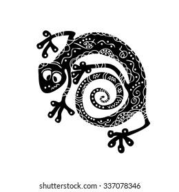 Sacred geometry maori tattoo - gecko - on a white background&