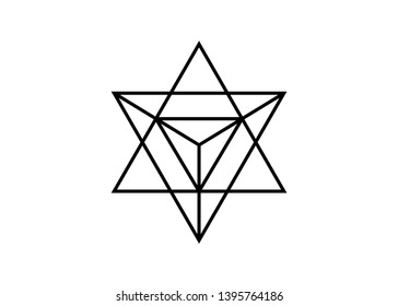 Sacred geometry. Merkaba thin line geometric triangle shape. esoteric or spiritual symbol. isolated on white background. Star tetrahedron icon. Light spirit body, wicca esoteric divination