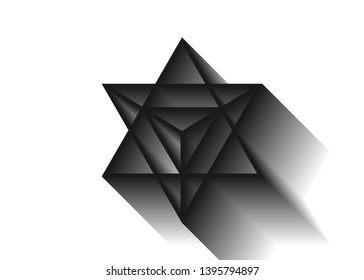 Sacred geometry. Merkaba thin line geometric triangle shape. esoteric or spiritual symbol. isolated on white background. Star tetrahedron icon. Light spirit body, wicca esoteric divination, 3D shadow