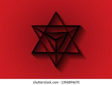 Sacred geometry. Merkaba thin line geometric triangle shape. esoteric or spiritual symbol. isolated on red background.