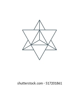 sacred geometry. merkaba thin line geometric triangle shape. esoteric or spiritual symbol. isolated on white background. vector illustration