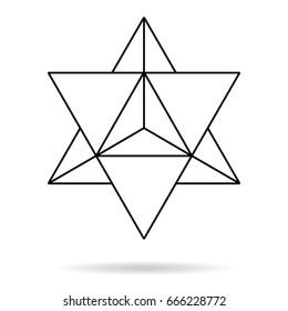 Sacred geometry. merkaba thin line geometric triangle shape. esoteric or spiritual symbol. isolated on white background. Star tetrahedron icon