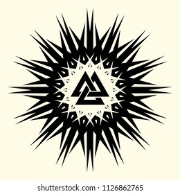 Sacred geometry. Mystic star. Sacred symbol of Vikings. Ancient sacral sign of Celts. Alchemy; religion; spirituality. Crossed triangles against the background of the black sun. Vector illustration.