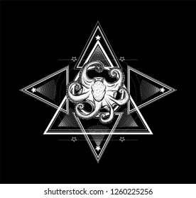 Sacred geometry with octopus. Sketch for print t shirt and tattoo art. Ancient symbol. Magic mandala with animal.