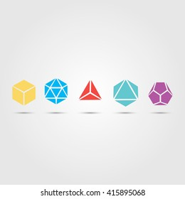 Sacred geometry  platonic solids air, earth, water, fire, spirit, cosmos, cube, dodecahedron, tetrahedron, icosahedron, octahedron