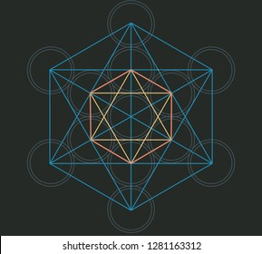 Sacred Geometry Platonic Solids vector illustration: Metatrons Cube with Platonic icosahedron and Fruit of Life. Metatrons Pattern of Creation.