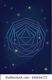 Sacred geometry polygon logo abstract vector on shiny mystic galaxy background with glowing stars in deep cosmic night space, new age background for t shirt, textile or posters print with text space