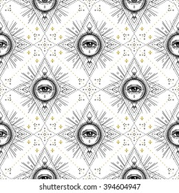 Sacred geometry seamless pattern with all seeing eye isolated on white. Mystic, alchemy, occult. Design for indie music album cover, t-shirt print, boho poster, flyer. Astrology, shamanism, religion.