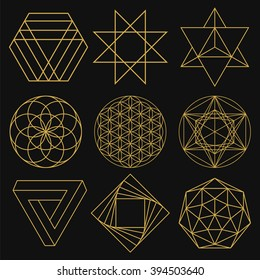 Sacred Geometry. Set of figures with sacred symbols and elements. Vector illustration. Mystical and esoteric forms: Flower of Life, Merkaba, Penrose triangle, pentagram, octagram. Spiritual logo.