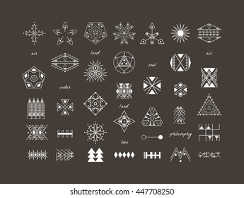 Sacred geometry. Set of minimal geometric shapes. Business signs, labels, trendy hipster linear icons and logotypes. Ethnic collection