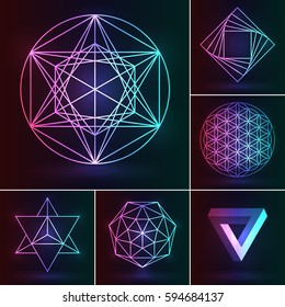 Sacred geometry set. Vector esoteric ornament on the neon background. Abstract geometric symbols: fower of Life, merkaba, penrose triangle, pentagram, octagram. Mystery logo for mystic design.
