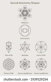 Sacred geometry shapes, set eight examples