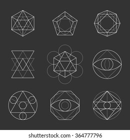 Sacred Geometry Shapes. Spirituality, Alchemy, Religion, Hipster Symbols. Vector.