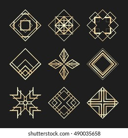 Sacred geometry signs. Art Deco logotypes. Set of golden icons. Mystical geometric elements. Art Deco diamond logo.