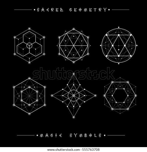 Sacred Geometry Signs Set Symbols Elements Stock Vector