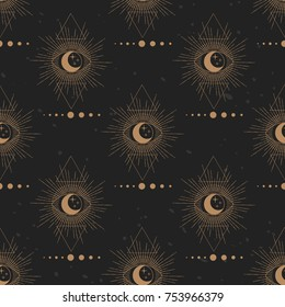 Sacred geometry. Solar system, moon, triangles. Vector seamless pattern