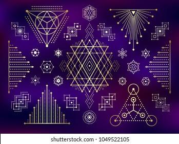 Sacred geometry style gold symbol set. Sacral geometric outline signs on gradient mesh background. Line art golden elements. EPS 10 linear design vector illustration.