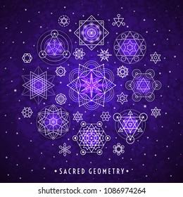Sacred geometry style symbol set. Round composition. Sacral geometric outline signs on the violet galaxy watercolor texture vector background. Line art elements. EPS 10 linear design illustration