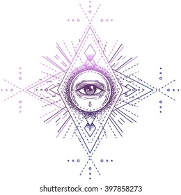 Sacred geometry symbol with all seeing eye isolated on white. Mystic, alchemy, occult concept. Design for indie music album cover, t-shirt print, boho poster, flyer. Astrology, shamanism, religion.