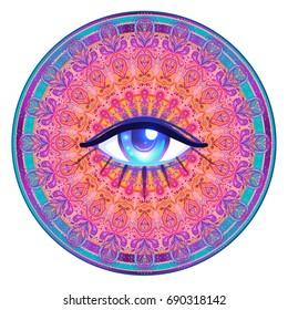 Sacred geometry symbol with all seeing eye in acid colors isolated. Mystic, alchemy, occult concept. Design for music cover, t-shirt print, psychedelic poster, flyer. Astrology, esoteric, religion.