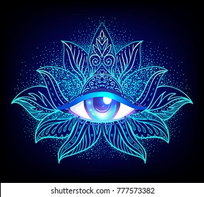 Sacred geometry symbol with all seeing eye over in acid colors. Mystic, alchemy, occult concept. Design for indie music cover, t-shirt print, psychedelic poster, flyer. Astrology, esoteric, religion.