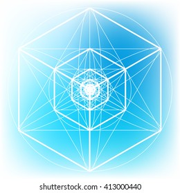 Sacred geometry symbol on colorful mesh background. Alchemy, religion, philosophy, astrology and spirituality themes. Matter, space and time.Science of the Universe. Science scheme. Sacred scheme.