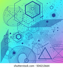 Sacred geometry symbols and elements background. Cosmic, universe, big bang, alchemy, religion, philosophy, astrology, science, physics, chemistry and spirituality themes.