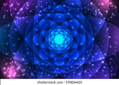 Sacred geometry symbols and elements background. Cosmic, universe, big bang, alchemy, religion, philosophy, astrology, science, physics, chemistry and spirituality themes. Mandala illustration.