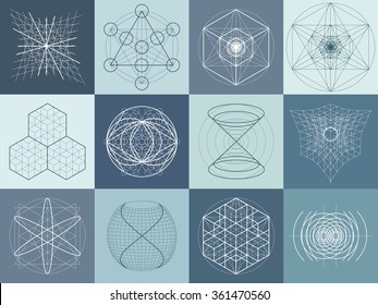 Sacred geometry symbols and elements set. 12 in 1. Alchemy, religion, philosophy, astrology, spirituality, hipster, masons and spirituality themes. Sacred signs.