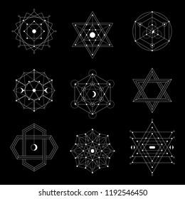 Sacred geometry symbols set. Vector illustration